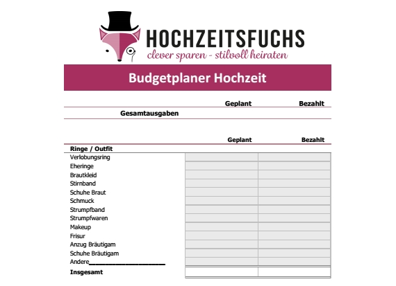 Budgetplaner im PDF Format