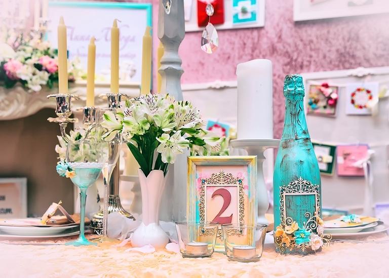 Hochzeitsdeko, vintage, Boho, Flasche Kerzen
